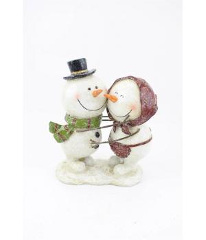 """110-110 Фигура декор """"Влюбленные снеговики"""" высота 18см, 15х8см"""