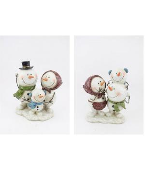"""110-111 Фигура декор """"Семья снеговиков""""  высота 19см, 16х11см (2 вида)"""