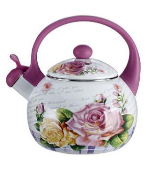 """EM-25101/35 Чайник эмал. """"Чайная роза"""" со свистком 2,5 л"""