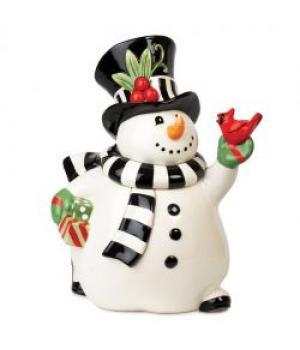 """19-628 Банка для печенья """"Весёлый снеговик"""""""