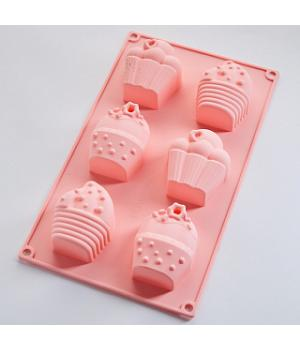 """AK-6195S Форма для выпечки 6 кексов """"Сладости""""  цвет: розовый 29*17*3,5см (100)"""