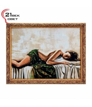 """R267-40х57 Картина из гобелена """"Спящая девушка на кроватис подушкой"""" (45х62)"""
