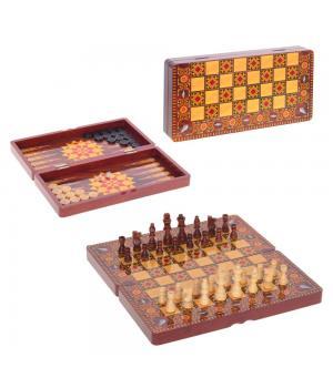 676629 Игра настольная 3 в 1  (шахматы, шашки, нарды) L39,5 W20 H6 см